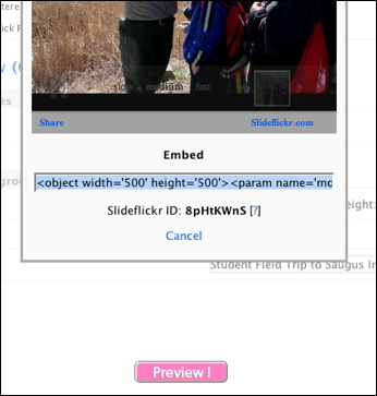 Grab slideshow embed code in SlideFlickr