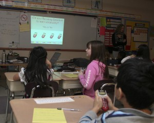 Third graders enthusiastically vote, Yes, on using Qwizdom to learn vocabulary.