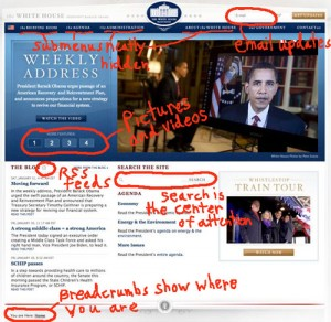 Web design features of the new WhiteHouse.Gov site.