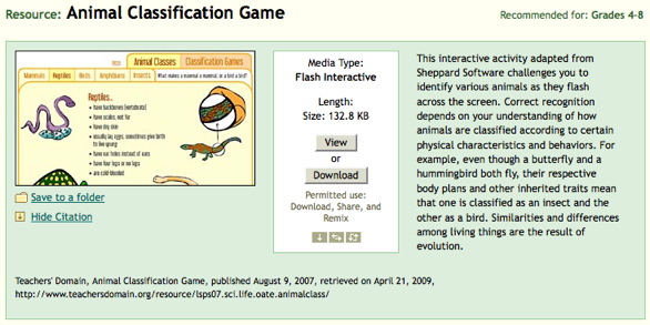 Screen shot of Teachers\' Domain Animal Classification Game Resource